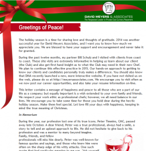 Greetings of Peace – 2014